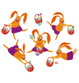easter bunny with the basket vector image