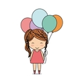 Girl and balloons icon Kid design graphic vector image
