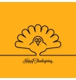 Thanksgiving turkey line on yellow background vector image