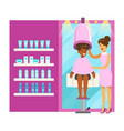 women drying hair in beauty salon colorful vector image