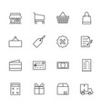 market and shopping icon set line icon vector image