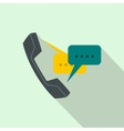 Handset with speech bubbles icon flat style vector image