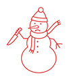 angry snowman icon vector image