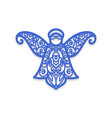 christmas angel with pattern laser cutting vector image