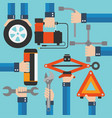 emergency road kit items auto mechanic tools moder vector image