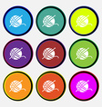 Yarn ball icon sign Nine multi colored round vector image