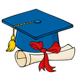 Graduate Blue Cap With Diploma vector image