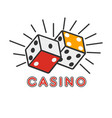 casino poker gambling dice lucky combination vector image vector image