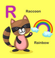 isolated animal alphabet letter r-rainbow raccoon vector image