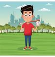 boy sport activity park city bakcground vector image
