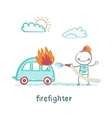 firefighter extinguishes a car vector image vector image
