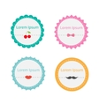 Cute round tag label set with dash line cherry bow vector image