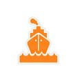 icon sticker realistic design on paper sea ship vector image
