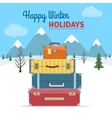 Baggage with a snowy landscape vector image
