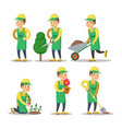cartoon gardener planting plant gardening vector image