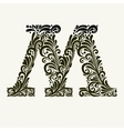 Elegant capital letter M in the style Baroque vector image