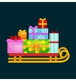 christmas gifts in stack box on sled winter vector image
