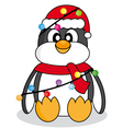 Penguin with christmas lights vector image
