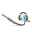 globe with headphones vector image