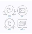 Folder press hand and contacts icons vector image