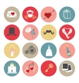 Cute Flat wedding icons set for web and mobile vector image