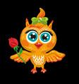cute owl cartoon character bird holding a vector image