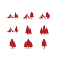 Set of tourist tent and forest icons vector image