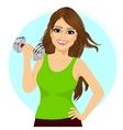 young woman doing a fitness workout with dumbbell vector image