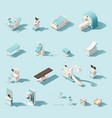 isometric low poly medical equipment set vector image