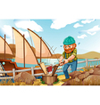 A woodman chopping the woods near the river vector image vector image