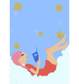 little girl lying on the cloud and reading a book vector image vector image