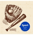 Hand drawn sport object Sketch baseball vector image