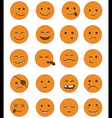 icons set 20 characters orange vector image vector image