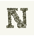 Elegant capital letter N in the style Baroque vector image