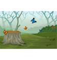 funny butterfly with deep forest landscape backgro vector image
