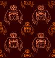 animal seamless pattern on a dark backgroun vector image