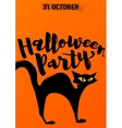Halloween party invitation with scary black cat vector image