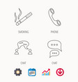 smoking chat and phone call icons vector image