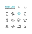 Sport Training - Thick Single Line Icons Set vector image