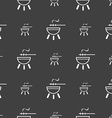 barbecue icon sign Seamless pattern on a gray vector image