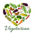 I love vegetarian life symbol of heart vegetables vector image vector image