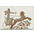 Fresco of the pharaoh Ramses in a battle vector image