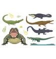 cartoon green crocodile danger predator and vector image