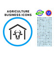 cow garage rounded icon with set vector image