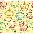 Colorful muffins seamless pattern background vector image vector image