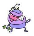 cute purple monster keeps a dumbbell vector image