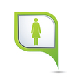 woman icon on green map pointer vector image