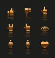Golden social icons set vector image