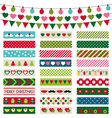 Christmas decoration and washi tapes set vector image