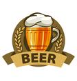 logo beer in a mug and a ribbon vector image